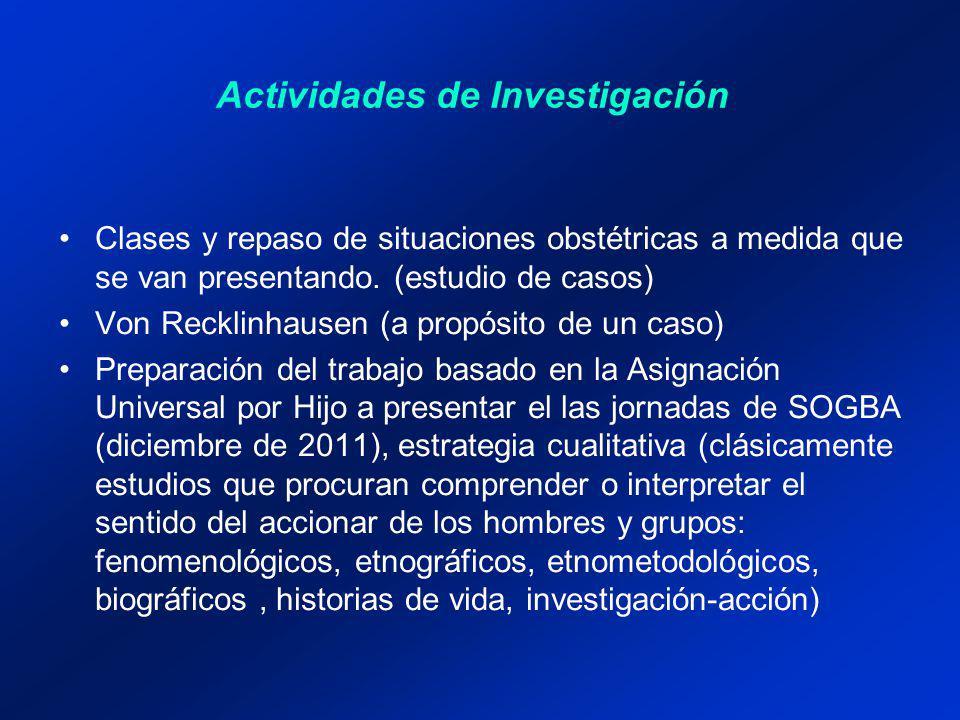 Actividades de Investigación Clases y repaso de situaciones obstétricas a medida que se van presentando.