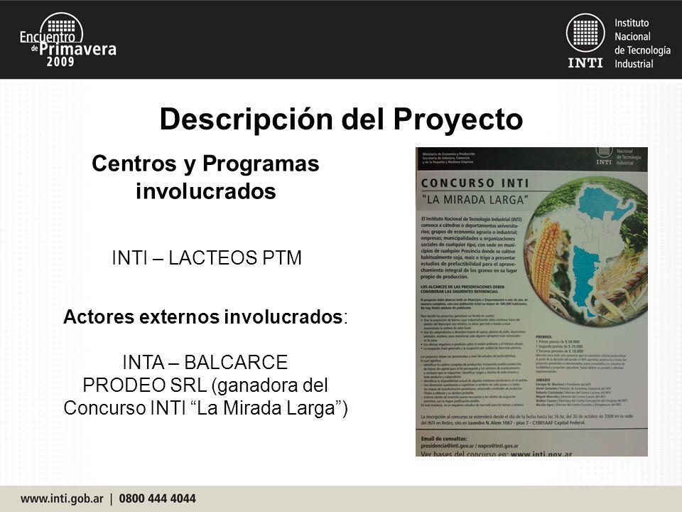 Descripción del Proyecto Centros y Programas involucrados INTI – LACTEOS PTM Actores externos involucrados: INTA – BALCARCE PRODEO SRL (ganadora del C