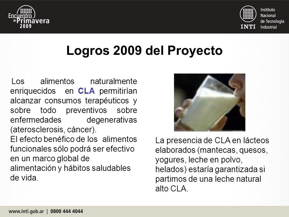 Logros 2009 del Proyecto Los alimentos naturalmente enriquecidos en CLA permitirían alcanzar consumos terapéuticos y sobre todo preventivos sobre enfe