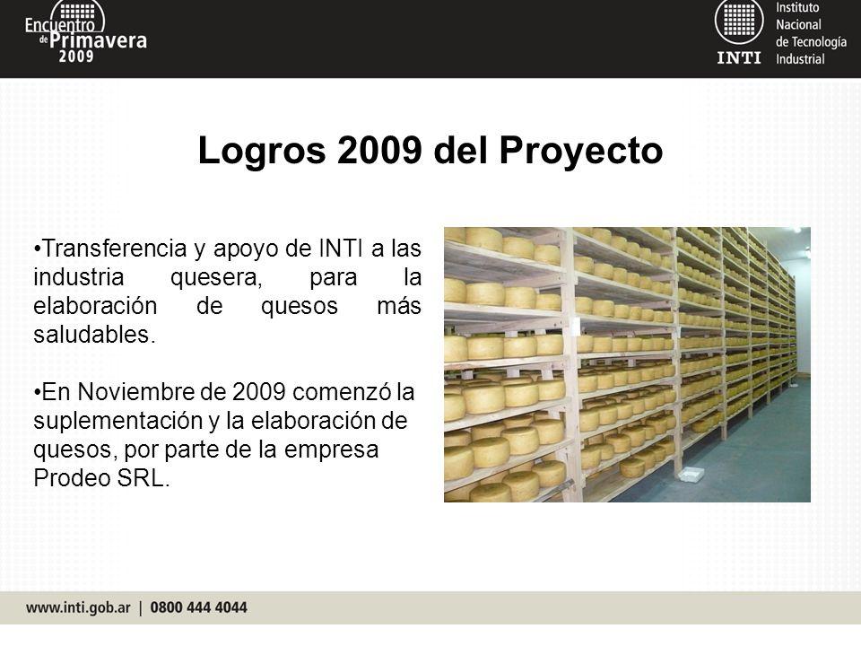 Logros 2009 del Proyecto Transferencia y apoyo de INTI a las industria quesera, para la elaboración de quesos más saludables. En Noviembre de 2009 com