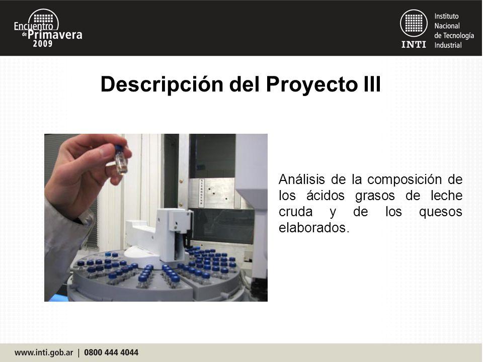 Descripción del Proyecto III Análisis de la composición de los ácidos grasos de leche cruda y de los quesos elaborados.