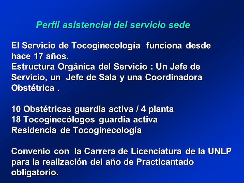 Perfil asistencial del servicio sede El Servicio de Tocoginecología funciona desde hace 17 años. Estructura Orgánica del Servicio : Un Jefe de Servici