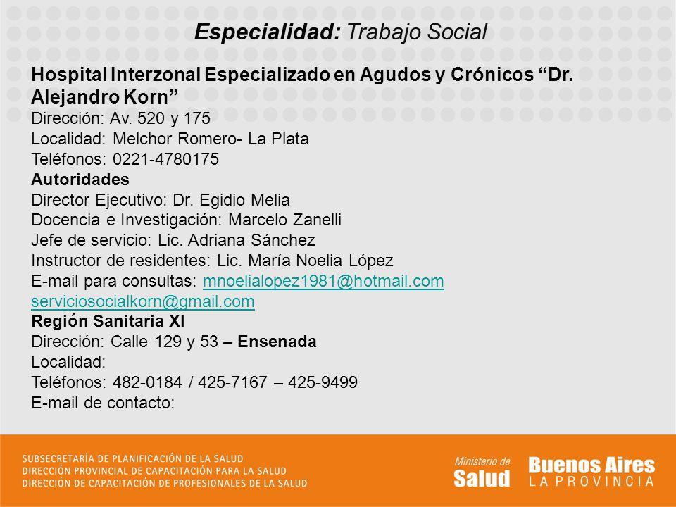 Especialidad: Trabajo Social Hospital Interzonal Especializado en Agudos y Crónicos Dr.