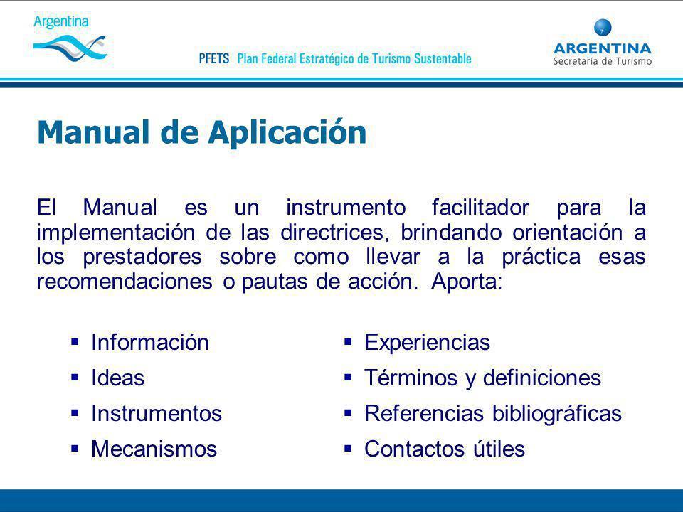 Manual de Aplicación Información Ideas Instrumentos Mecanismos El Manual es un instrumento facilitador para la implementación de las directrices, brindando orientación a los prestadores sobre como llevar a la práctica esas recomendaciones o pautas de acción.