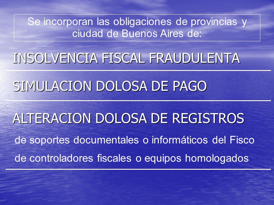 ALTERACION DOLOSA DE REGISTROS Se incluyen los Fiscos provinciales y a la Ciudad Autónoma Se incluyen los Fiscos provinciales y a la Ciudad Autónoma Se incorpora (art.12 bis)...