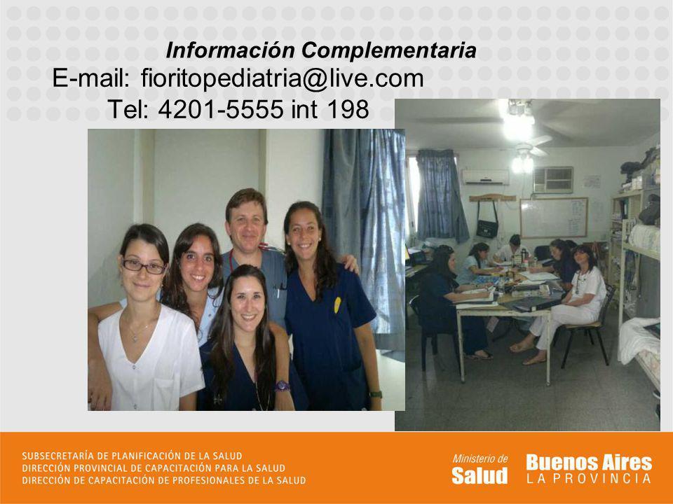 E-mail: fioritopediatria@live.com Tel: 4201-5555 int 198 Información Complementaria Incluir todo aquello que permita al aspirante formar su idea de la