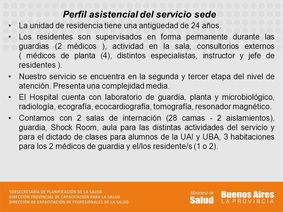 Perfil asistencial del servicio sede La unidad de residencia tiene una antigüedad de 24 años. Los residentes son supervisados en forma permanente dura