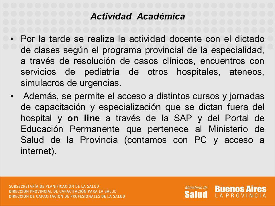 Por la tarde se realiza la actividad docente con el dictado de clases según el programa provincial de la especialidad, a través de resolución de casos