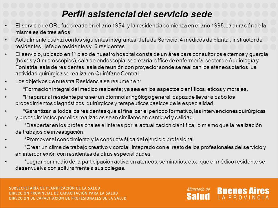 Perfil asistencial del servicio sede El servicio de ORL fue creado en el año 1954 y la residencia comienza en el año 1995.La duración de la misma es d