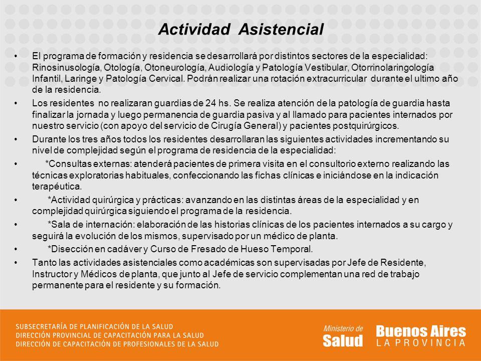 El programa de formación y residencia se desarrollará por distintos sectores de la especialidad: Rinosinusología, Otología, Otoneurología, Audiología