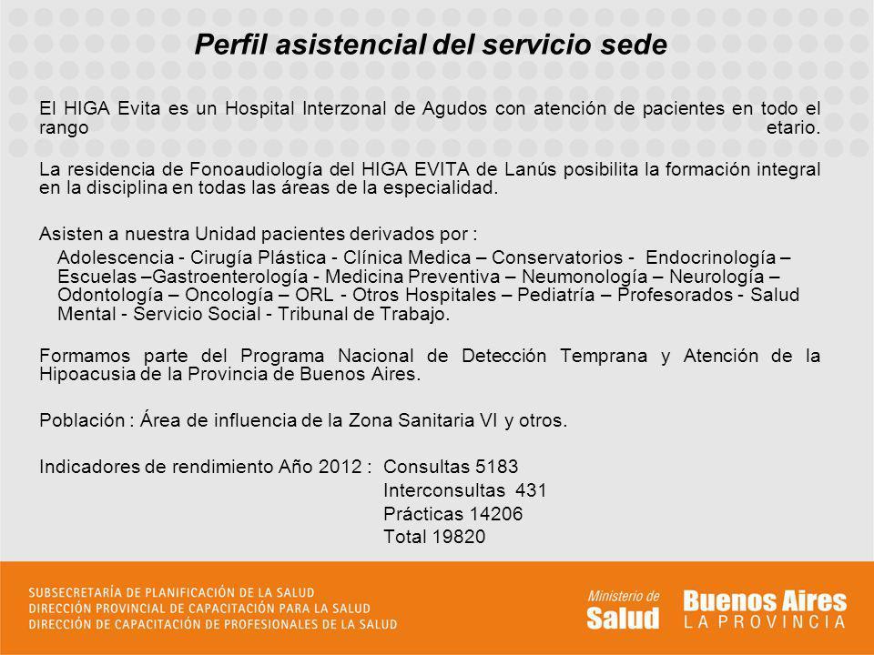 Perfil asistencial del servicio sede El HIGA Evita es un Hospital Interzonal de Agudos con atención de pacientes en todo el rango etario. La residenci