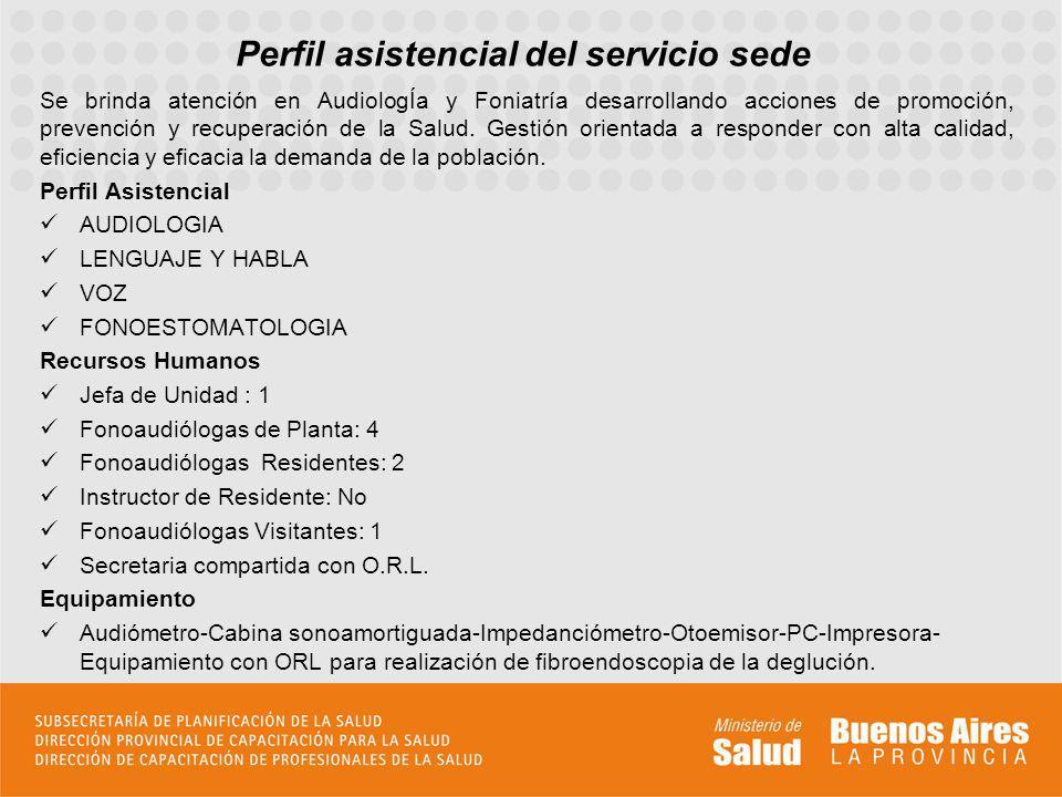 Perfil asistencial del servicio sede Se brinda atención en AudiologÍa y Foniatría desarrollando acciones de promoción, prevención y recuperación de la