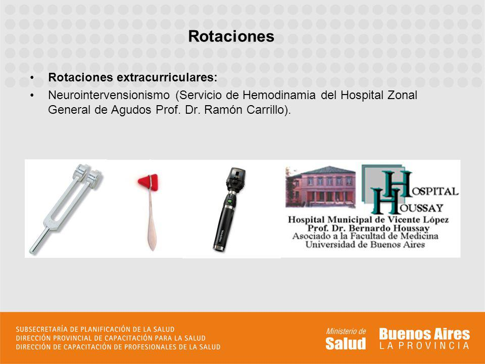 Rotaciones extracurriculares: Neurointervensionismo (Servicio de Hemodinamia del Hospital Zonal General de Agudos Prof. Dr. Ramón Carrillo). Rotacione