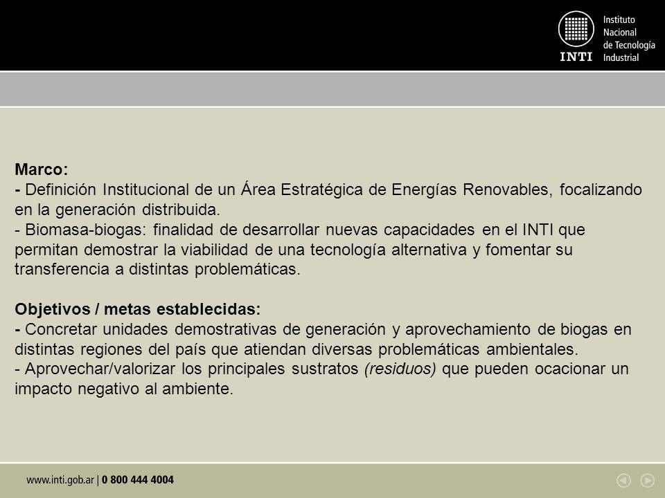 Marco: - Definición Institucional de un Área Estratégica de Energías Renovables, focalizando en la generación distribuida. - Biomasa-biogas: finalidad