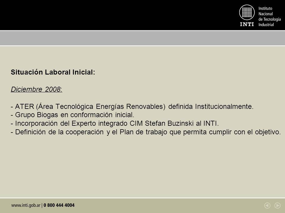 Situación Laboral Inicial: Diciembre 2008: - ATER (Área Tecnológica Energías Renovables) definida Institucionalmente. - Grupo Biogas en conformación i
