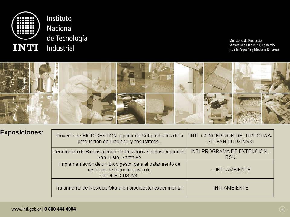 Exposiciones: Proyecto de BIODIGESTIÓN a partir de Subproductos de la producción de Biodiesel y cosustratos.. INTI CONCEPCION DEL URUGUAY- STEFAN BUDZ