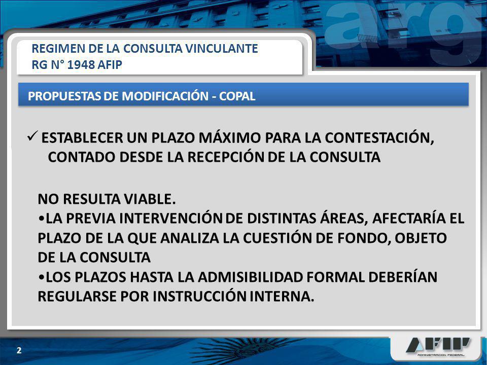 REGIMEN DE LA CONSULTA VINCULANTE RG N° 1948 AFIP PROPUESTAS DE MODIFICACIÓN - COPAL 2 ESTABLECER UN PLAZO MÁXIMO PARA LA CONTESTACIÓN, CONTADO DESDE LA RECEPCIÓN DE LA CONSULTA NO RESULTA VIABLE.