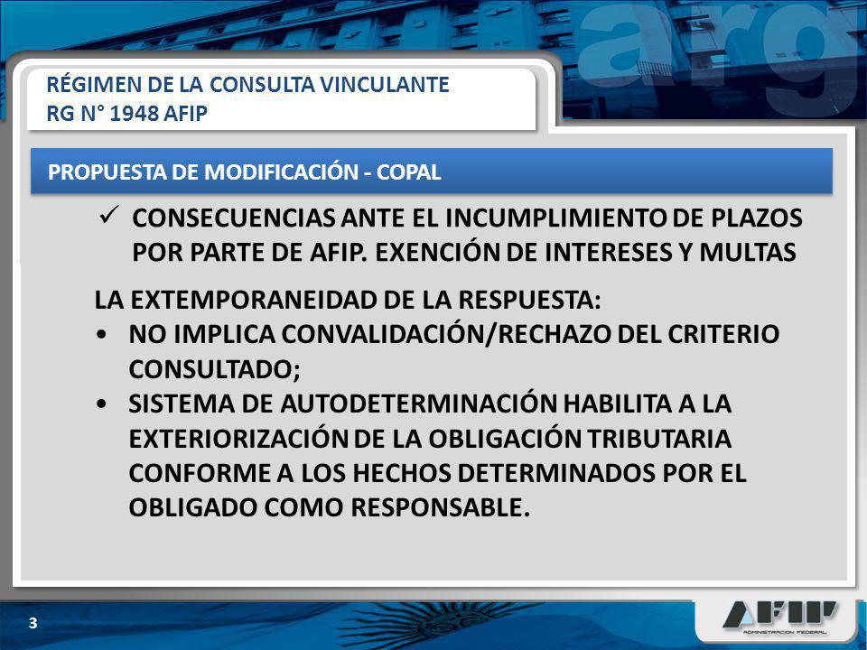 PROPUESTA DE MODIFICACIÓN - COPAL 3 CONSECUENCIAS ANTE EL INCUMPLIMIENTO DE PLAZOS POR PARTE DE AFIP. EXENCIÓN DE INTERESES Y MULTAS RÉGIMEN DE LA CON