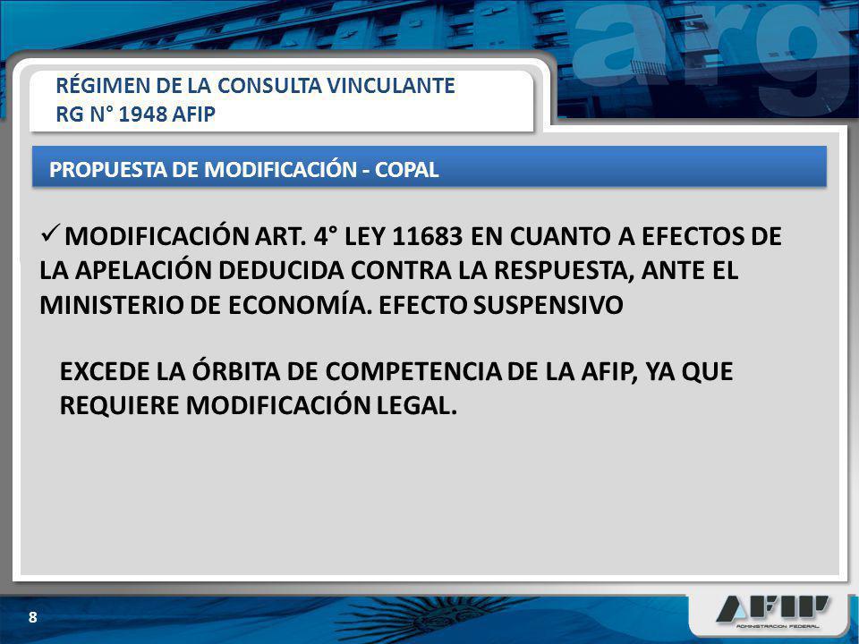 RÉGIMEN DE LA CONSULTA VINCULANTE RG N° 1948 AFIP PROPUESTA DE MODIFICACIÓN - COPAL 8 EXCEDE LA ÓRBITA DE COMPETENCIA DE LA AFIP, YA QUE REQUIERE MODIFICACIÓN LEGAL.