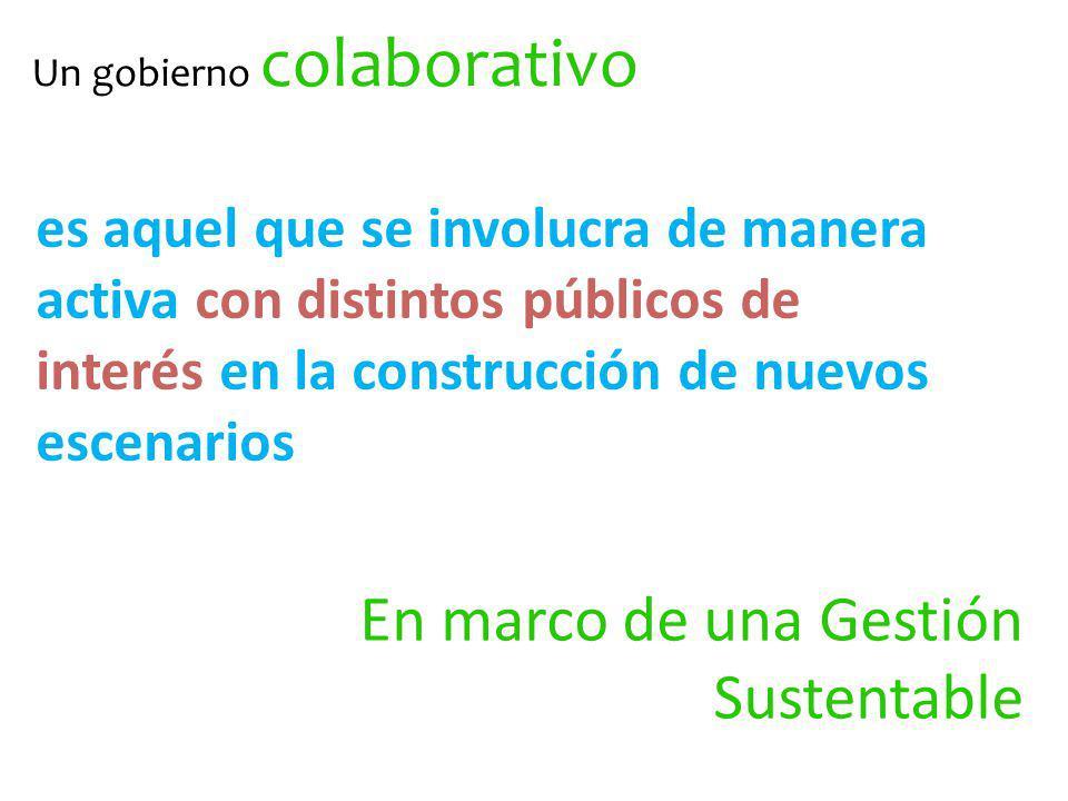 Un gobierno colaborativo es aquel que se involucra de manera activa con distintos públicos de interés en la construcción de nuevos escenarios En marco