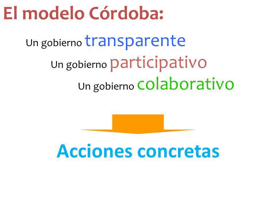 Un gobierno colaborativo Acciones concretas Un gobierno participativo Un gobierno transparente El modelo Córdoba: