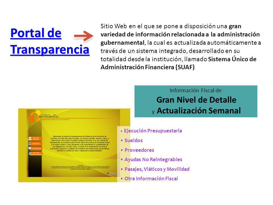Portal de Transparencia Portal de Transparencia Información Fiscal de Gran Nivel de Detalle y Actualización Semanal Ejecución Presupuestaria Sueldos P