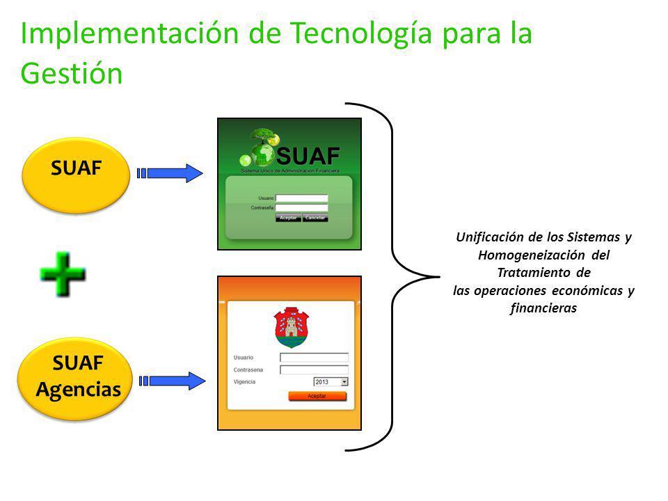 SUAF Agencias Unificación de los Sistemas y Homogeneización del Tratamiento de las operaciones económicas y financieras Implementación de Tecnología p