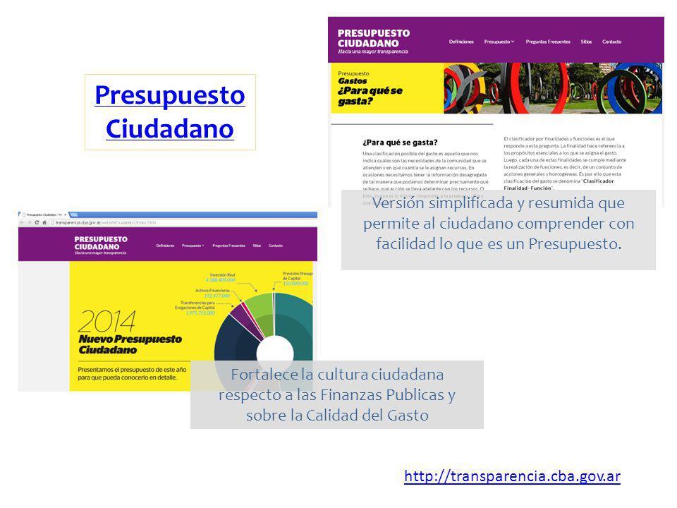 Presupuesto Ciudadano http://transparencia.cba.gov.ar Versión simplificada y resumida que permite al ciudadano comprender con facilidad lo que es un P