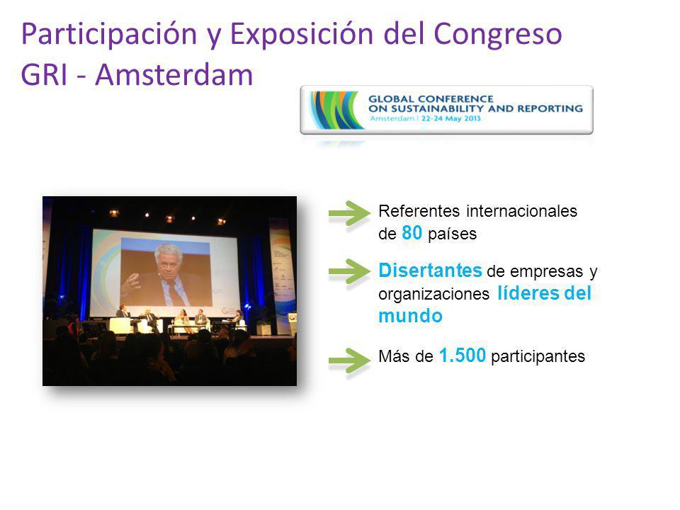 Participación y Exposición del Congreso GRI - Amsterdam Referentes internacionales de 80 países Disertantes de empresas y organizaciones líderes del m