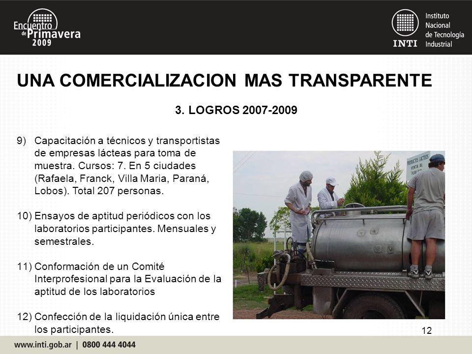 UNA COMERCIALIZACION MAS TRANSPARENTE 3. LOGROS 2007-2009 12 9)Capacitación a técnicos y transportistas de empresas lácteas para toma de muestra. Curs