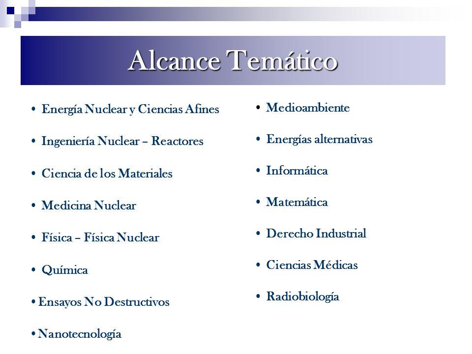 Alcance Temático Energía Nuclear y Ciencias Afines Ingeniería Nuclear – Reactores Ciencia de los Materiales Medicina Nuclear Física – Física Nuclear Q