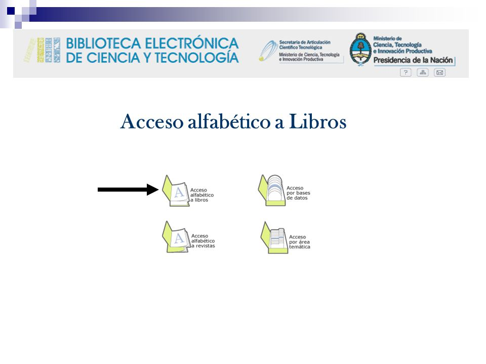 Acceso alfabético a Libros