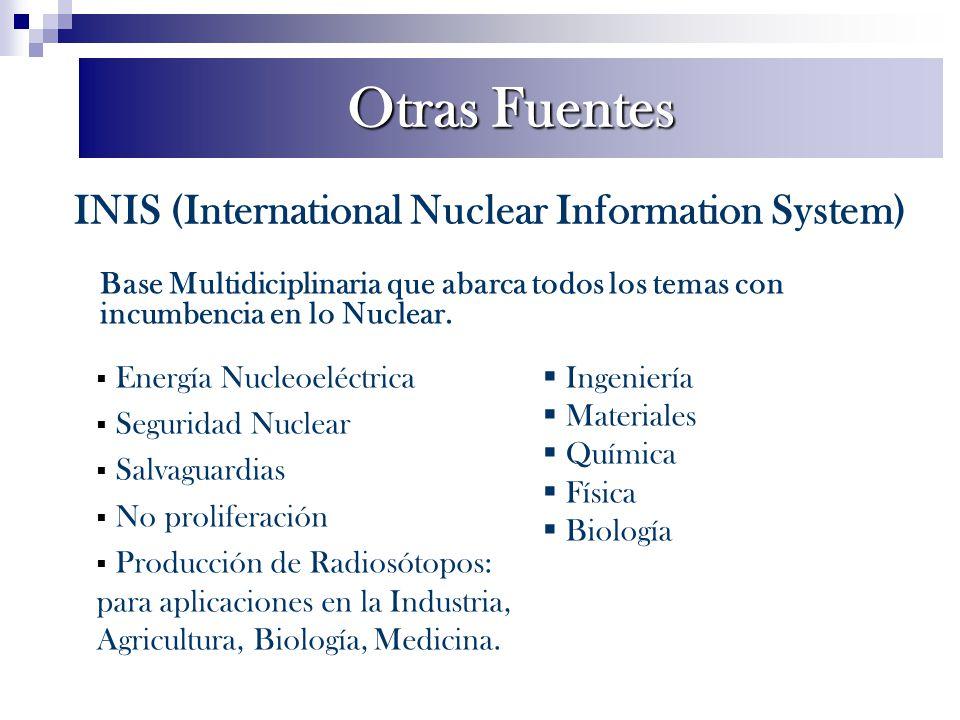 INIS (International Nuclear Information System) Base Multidiciplinaria que abarca todos los temas con incumbencia en lo Nuclear. Energía Nucleoeléctri