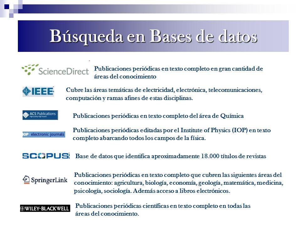 Búsqueda en Bases de datos Publicaciones periódicas en texto completo en gran cantidad de áreas del conocimiento Cubre las áreas temáticas de electric