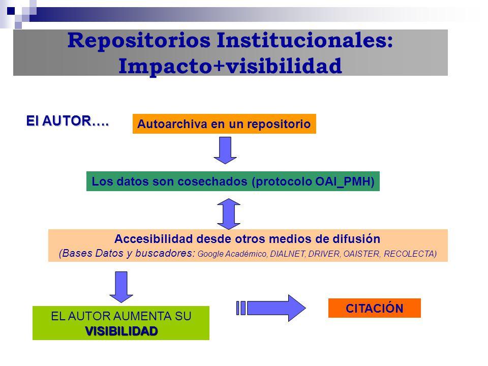 Repositorios Institucionales: Impacto+visibilidad Accesibilidad desde otros medios de difusión (Bases Datos y buscadores: Google Académico, DIALNET, D