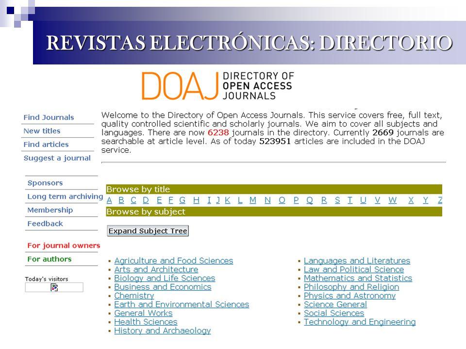 REVISTAS ELECTRÓNICAS: DIRECTORIO