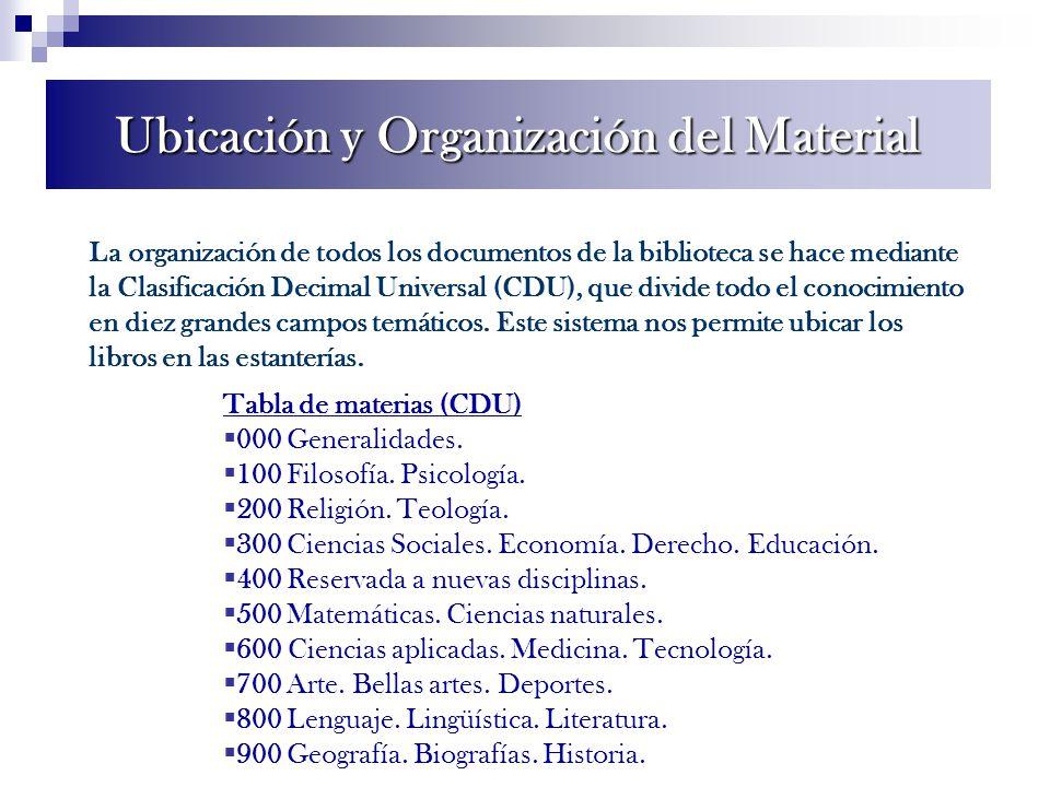 La organización de todos los documentos de la biblioteca se hace mediante la Clasificación Decimal Universal (CDU), que divide todo el conocimiento en