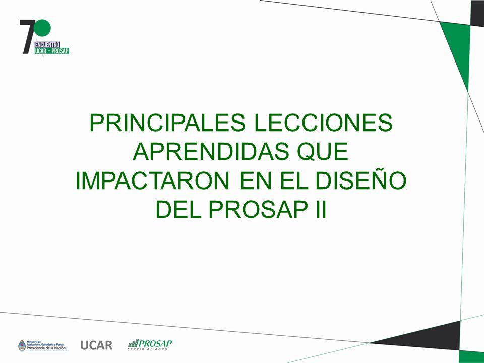PRINCIPALES LECCIONES APRENDIDAS QUE IMPACTARON EN EL DISEÑO DEL PROSAP II