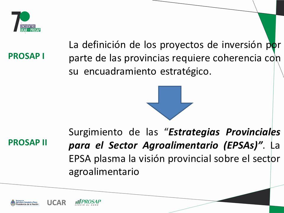 La definición de los proyectos de inversión por parte de las provincias requiere coherencia con su encuadramiento estratégico.