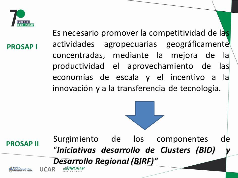 Es necesario promover la competitividad de las actividades agropecuarias geográficamente concentradas, mediante la mejora de la productividad el aprovechamiento de las economías de escala y el incentivo a la innovación y a la transferencia de tecnología.