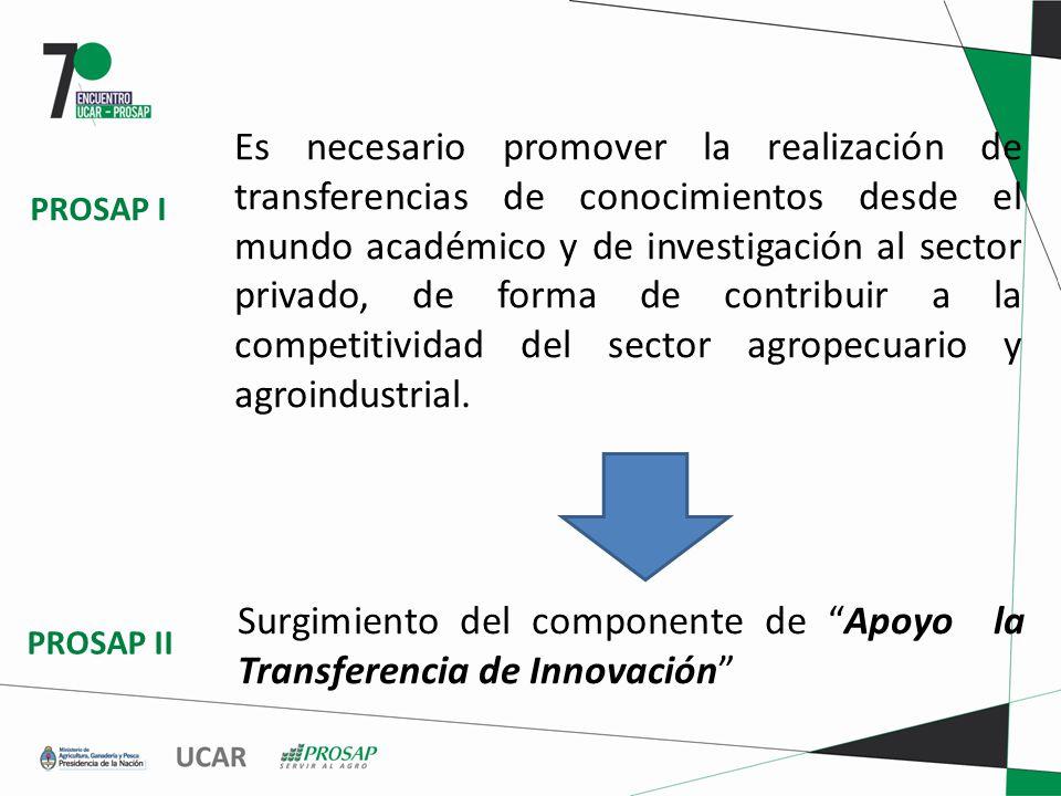 Es necesario promover la realización de transferencias de conocimientos desde el mundo académico y de investigación al sector privado, de forma de contribuir a la competitividad del sector agropecuario y agroindustrial.