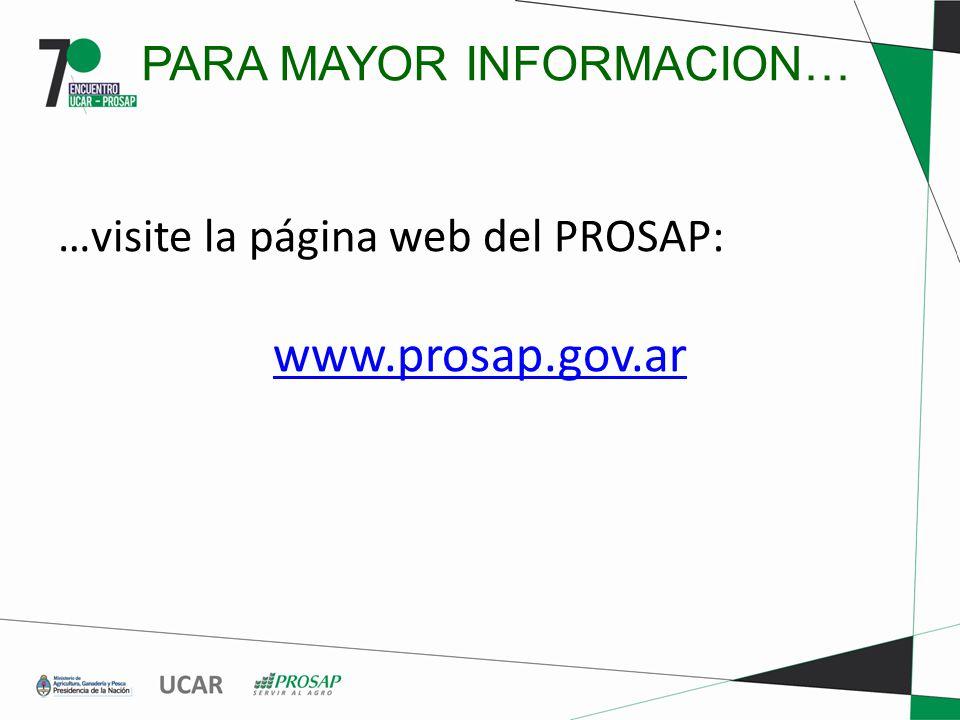 PARA MAYOR INFORMACION… …visite la página web del PROSAP: www.prosap.gov.ar