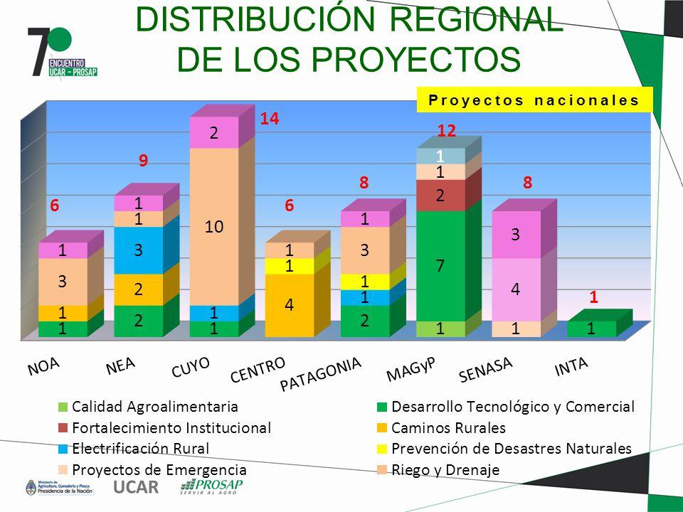 DISTRIBUCIÓN REGIONAL DE LOS PROYECTOS 6 9 14 6 8 12 8 1