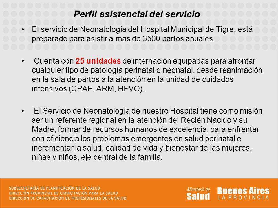 Perfil asistencial del servicio El servicio de Neonatología del Hospital Municipal de Tigre, está preparado para asistir a mas de 3500 partos anuales.