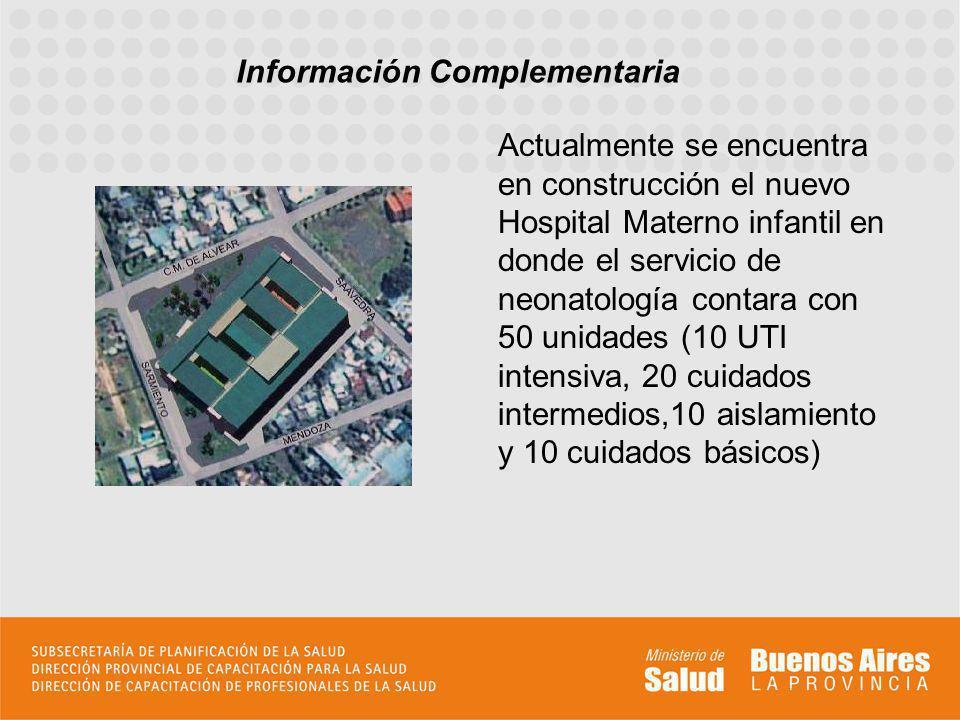 Actualmente se encuentra en construcción el nuevo Hospital Materno infantil en donde el servicio de neonatología contara con 50 unidades (10 UTI inten