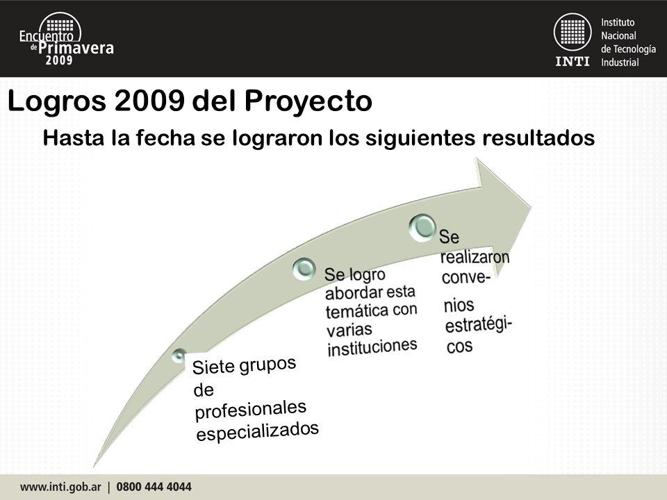 Hasta la fecha se lograron los siguientes resultados Logros 2009 del Proyecto Siete grupos de profesionales especializados