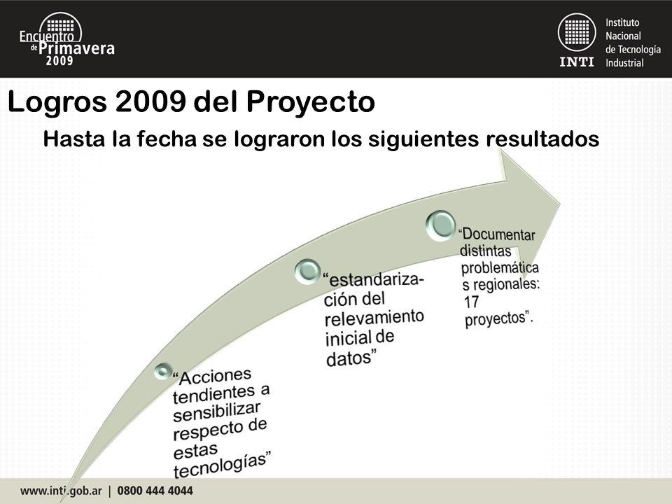 Logros 2009 del Proyecto Hasta la fecha se lograron los siguientes resultados
