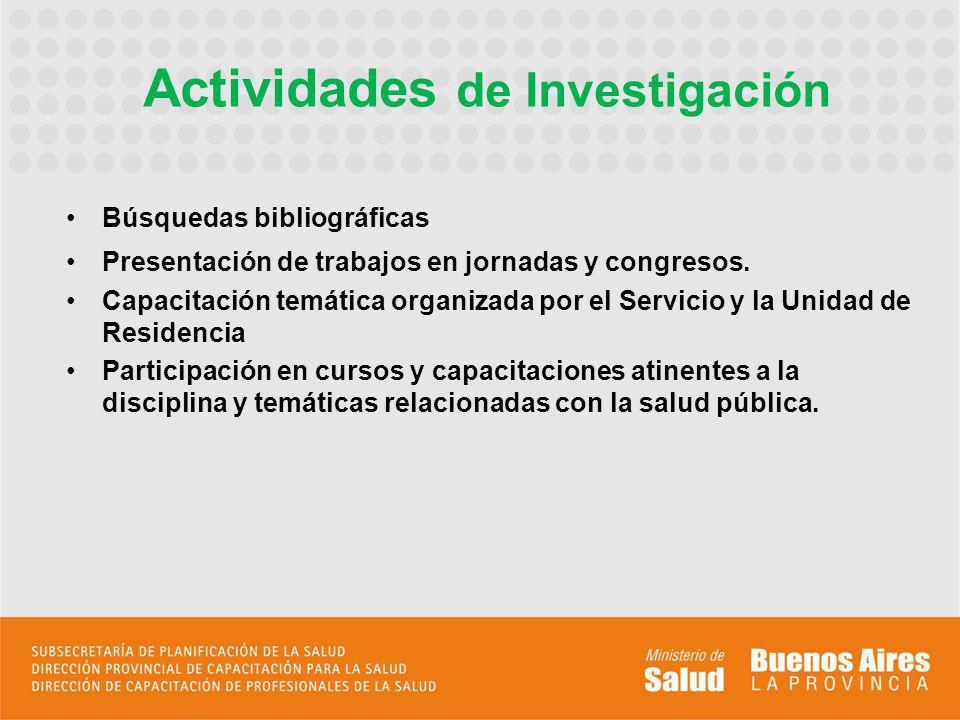 Búsquedas bibliográficas Presentación de trabajos en jornadas y congresos.