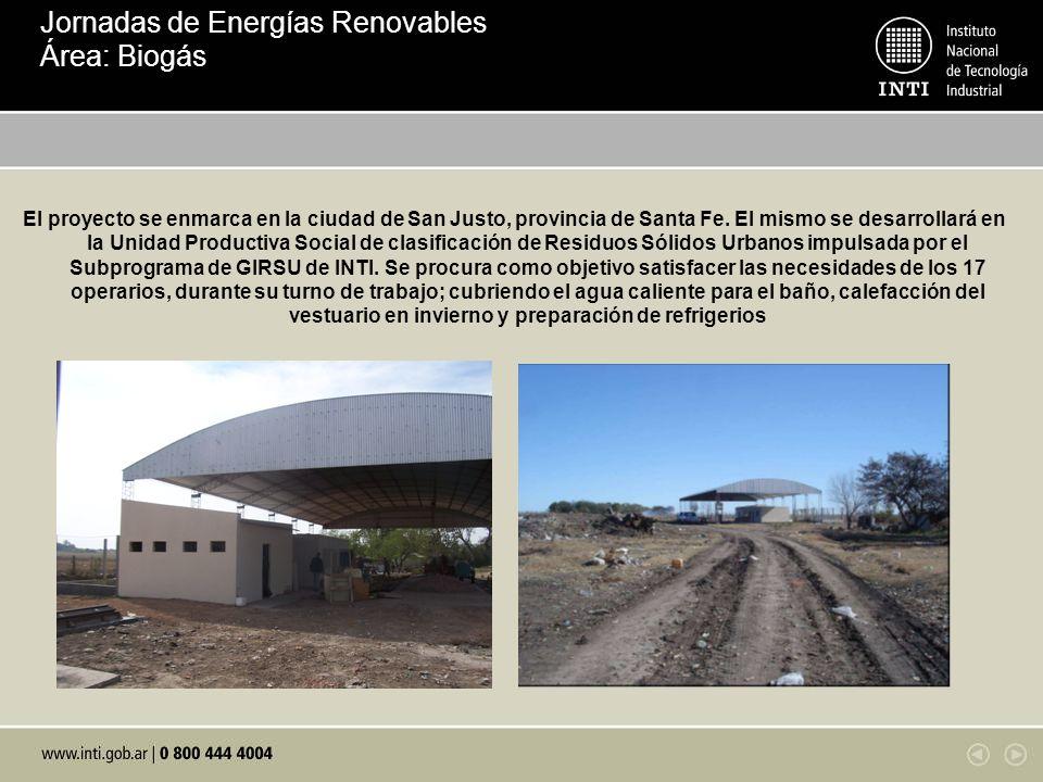 El proyecto se enmarca en la ciudad de San Justo, provincia de Santa Fe. El mismo se desarrollará en la Unidad Productiva Social de clasificación de R