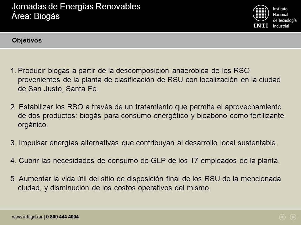 1.Producir biogás a partir de la descomposición anaeróbica de los RSO provenientes de la planta de clasificación de RSU con localización en la ciudad